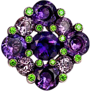 Russian Amethyst and Demantoid Cocktail Ring