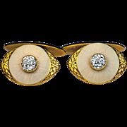 Vintage 14K Gold Guilloche Enamel Diamond Russian Cufflinks by Marshak Men's Jewelry Early 190