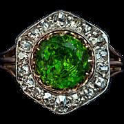 Rare Almost 3 Carat Russian Demantoid and Diamond Vintage Ring