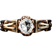 Antique Victorian 1800s Rose Cut Diamond 14K Rose Gold Ring