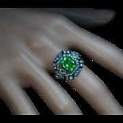 Rare 4 Carat Russian Demantoid, Diamond  Vintage Art Deco Engagement Ring