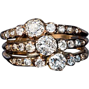 Antique Triple Row Diamond Ring