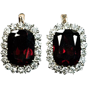 Antique Garnet and Diamond Cluster Earrings