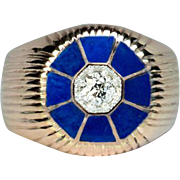 Vintage Diamond and Lapis Lazuli Men's Ring
