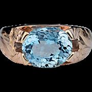 Vintage Aquamarine and 14K Rose Gold Ring