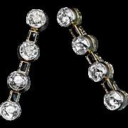 Art Deco Diamond and Onyx Long Earrings