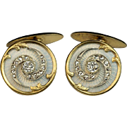 Antique Russian Diamond, Enamel, 14K Gold Cufflinks