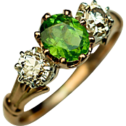 Vintage Three-Stone Demantoid and Diamond 14K Gold Ring