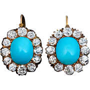 Antique Victorian Turquoise and Diamond Cluster Earrings
