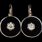 Antique Black Enamel, Diamond and 14K Gold Earrings