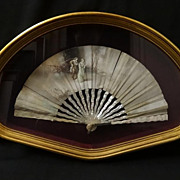 18th/19th Century Hand Painted Silk Fan with Mother of Pearl