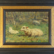 Johannes Frederick Hulk Jr., 'Sheep Grazing' Oil on Board