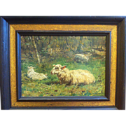 John T. Hulk Sheep in a Pasture Oil on Panel