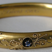 Edwardian Etruscan Work Diamond Sapphire 10k Bracelet