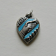 SALE Vintage Enameled Friendship Handshake Sterling Heart Charm