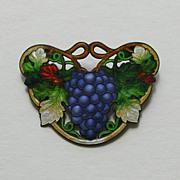 Art Nouveau Enameled Grapes Sterling Brooch