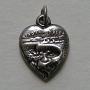 SALE Antique Niagara Falls Sterling Heart Charm