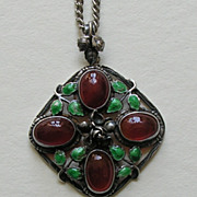 Arts and Crafts Enameled Carnelian Sterling Pendant