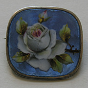 Meyle and Mayer Enameled Rose 935 Silver Brooch