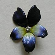 SALE Antique Enameled Violet Diamond 14k Brooch
