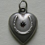 SALE Antique Garnet Paste Horseshoe Sterling Heart