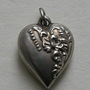 Antique Double Sided Flower Sterling Heart Charm