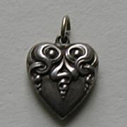 SALE Art Nouveau Sterling Heart Charm