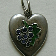 SALE Vintage Enameled Grapes Sterling Heart Charm