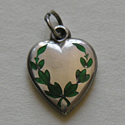 SALE Antique Enameled Wreath Flossy Sterling Heart Charm