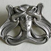 Kerr Art Nouveau Lady Sterling Brooch