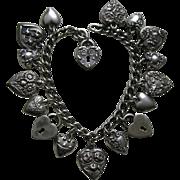 SALE Vintage Flower of the Month Seventeen Sterling Heart Bracelet