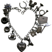 SALE Vintage Sterling Charm Bracelet with two Walter Lampl Sterling Hearts