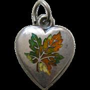 SALE Antique Enameled Maple Leaf Sterling Heart Charm