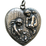 SALE Unger Chilly Cupids Large Sterling Heart Locket