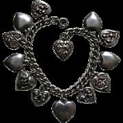 SALE Vintage Flower of the Month Walter Lampl Thirteen Sterling Heart Bracelet