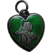 SALE Antique  Green Enameled Cupid Sterling Heart Charm