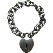 Vintage B. A. Ballou  Large Sterling Heart Lock and Bracelet
