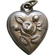 "Antique Rose ""Irene"" Sterling Heart Charm"
