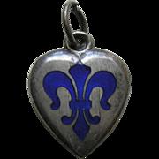 Antique Enameled Blue Fleur-de-lis Sterling Heart Charm
