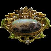 Antique Krementz Enameled Dragon Opal Diamond 14k Brooch/Watch Pin