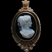 SALE Victorian Stone Cameo Pearl 14k Gold Brooch Pendant