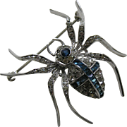 Art Deco Knoll Pregizer Sapphire Paste Spider Sterling Brooch