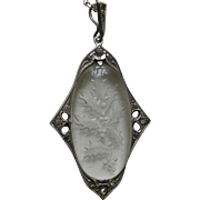 Art Deco Etched Holly and Berries Sterling Pendant and Chain