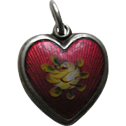 Walter Lampl Enameled Yellow Rose Sterling Heart Charm