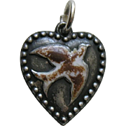 Antique Enameled Bird Sterling Heart