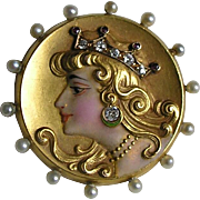 Art Nouveau Enameled Ruby Diamond Pearl Lady with Tiara Gold Brooch