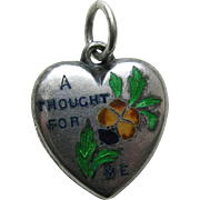 "Antique Enameled Rebus ""A Thought For Me"" Sterling Heart Charm"