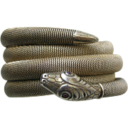 SALE PENDING Art Deco German Snake 800 Silver Wrap Bracelet