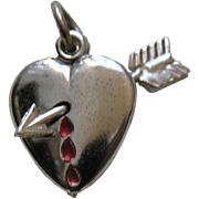 Vintage Bleeding Heart Sterling Charm