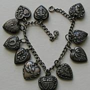 SALE Vintage Eleven Heart Sterling Bracelet with Bunny Heart